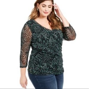 INC green textured top NWT